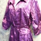 Purple satiny long blouse tie waist ruched sleeves women plus 18/20W embroidery