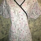 White black pink ribbons mock wrap scrubs top nurse medical dental L back tie