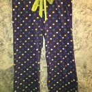Cotton stretch plaid sleep lounge pajama bottoms pants S purple dots drawstring