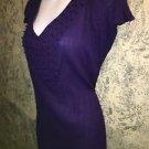 Purple gauze vneck beaded tunic stretch top hippie boho lightweight L cap sleeve
