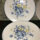 4 NORITAKE Progression china Good Times blue yellow floral Japan dinner plates