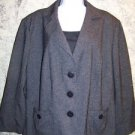 Charcoal gray great detail blazer jacket woman 20W pleated belt back soft lines