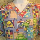 Cheerful frog print v-neck pullover JIT scrub top nurse medical uniform women L