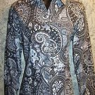 Artsy abstract paisley button down blouse shirt womens S COLDWATER CREEK career
