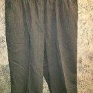 STUDIO WORKS plus 20W cotton capri peddle pusher pant black gray elastic waist
