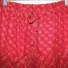 Salwar pleated baggy harem hippie boho drawstring pants red gold paisley rayon ?