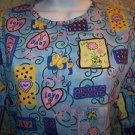 Valentines hearts ribbons snap front scrubs top jacket dental lab coat uniform M