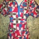 Bright abstract DICKIES scrubs top nurse medical dental vet S cut out v-neck