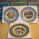 3 vintage 70s AVON collector plates CHRISTmas winter skaters carolers w/boxes