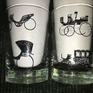 2 vintage LIBBEY horse carriage buggy black white pattern clear juice glasses