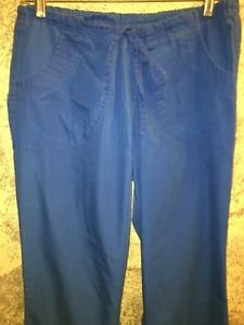 Blue DICKIES scrub pants nurse dental medical vet elastic drawstring flare leg L