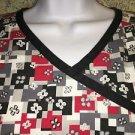 DICKIE'S mock wrap scrubs top nurse medical dental S red black gray geometric
