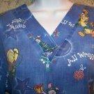 POOH TIGER CHRISTmas pullover v-neck scrubs top nurse medical uniform women M
