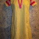 Yellow red kurti kutra dress handmade cotton hand embroidered India Indian OOAK