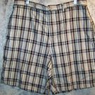 Mens size 38 black khaki plaid casual walking golf bermuda shorts NWT COVINGTON