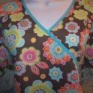 Big flowers pullover mock wrap v-neck scrub top nurse medical uniform women M