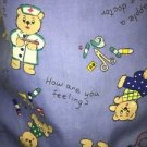 Teddy bear nurse v-neck scrubs uniform top 1 pocket dental medical nurse S blue