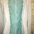 AMERICAN EAGLE stretch knit teal lace side panels back light gray t-shirt top S