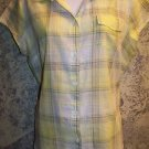 Semi sheer gauze weight cotton blouse LIZ CLAIBORNE Petite L PL yellow plaid top