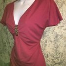 Ruched bust v-neck back tie stretch knit top CATO slit flutter cap sleeve S rose