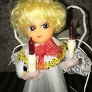 """CHRISTmas tree angel topper vintage 7"""" holding candles shabby chic kitchy decor"""