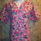 Bright pink cheerful flowers pullover v-neck scrubs top nurse medical woman 1X