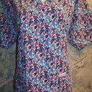 Multi-color artsy abstract LANDAU v-neck scrubs top nurse medical uniform size L