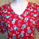 Red ladybug flower daisies pullover v-neck SB Scrubs top dental medical nurse S