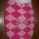 Pink diamond print snowflake embroidery fur collar dog sweater coat S-M clothes
