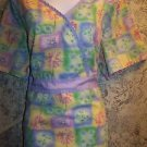 Valentine Day hearts flowers wrap look crossover back tie scrubs top dental 3X