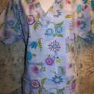 Artsty abstract floral vneck STARS scrubs uniform top dental medical nurse vet S