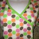 Colorful polka dots mock wrap scrub top nurse dental medical vet M green trim