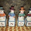 '03 AVON Snow Joe spelling blocks snowman winter decor JOY SNOW NOEL HOPE nib