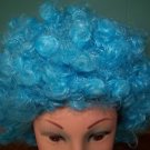 Bright blue short curly wig Halloween costume accessory clown adult 1 size used