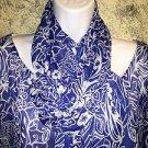DANA KAY plus 24 semi sheer lined hippie boho 3/4 sleeve blouse scarf sash blue