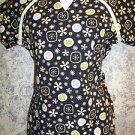 Black yellow abstract scoop  v-neck scrubs uniform top dental medical nurse XS