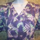 MEDIX purple butterfly abstract scrubs uniform top dental medical nurse vet S