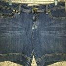 Modest length mid rise denim blue jean shorts junior size 9/10 back flap pockets