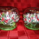 MERCK OLD WORLD CHRISTmas Germany glass globe candle holders holly leaf berry GC