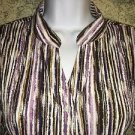 CHRISTOPHER & BANKS Stretch crinkle button down shirt french cuffs stripes M