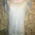 CALVIN KLEIN thin knit stretch top M blue white stripe keyhole back semi sheer