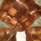 6 pc vntg retro VILLA WOOD woven square scallop salad serving bowls spoon fork