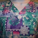 Teal purple abstract pullover v-neck scrubs top nurse medical uniform women L