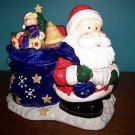 "SANTA bag of toys candy dish 8x7"" removable top ceramic CHRISTmas decoration GUC"