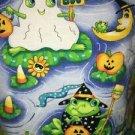 Halloween frogs v-neck scrubs uniform top dental medical nurse vet S pumpkins