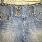 Modest length low rise low rise wide waist band denim blue jeans 6 flap pockets