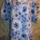Blue artsy floral abstract v-neck scrubs uniform top dental medical nurse XL 1X