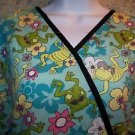 Blue green wrap look tie back cute frog pullover scrub top nurse medical women L