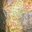 Bright floral scrubs top nurse medical dental vet S front tie wrap yellow green