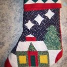 CHRISTmas stocking patch work quilt house tree stars winter old fashioned 8x18""